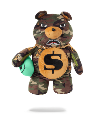 SPRAYGROUND B2784 Money Bear Camo Bookbag  Designers Closet