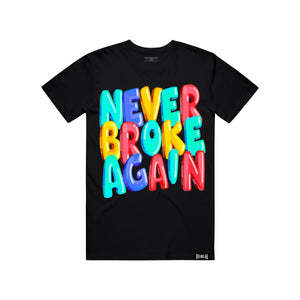 NEVER BROKE AGA BUBBLELETTERTEE BUBBLE Letter BLK / S Designers Closet