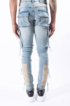SERENEDE CYBRCLD Cyber Cloud Cargo Jeans  Designers Closet