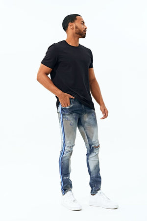 JORDAN CRAIG JM3388 STRIPED PAINTED JEANS Sean - TALLADEGA STRIPED DENIM (AGED WASH)  Designers Closet