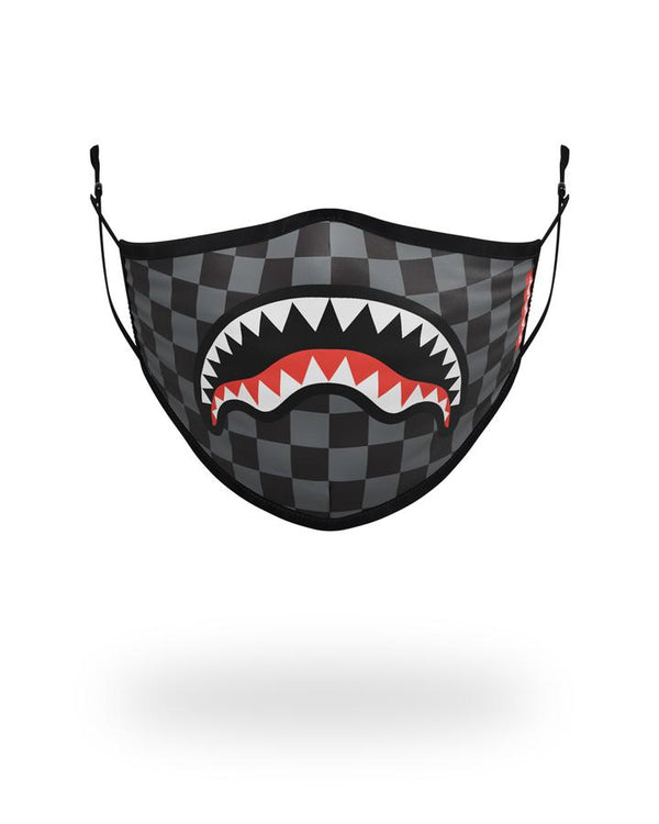 SPRAYGROUND Z124 GREY Checkered Shark Mask  Designers Closet