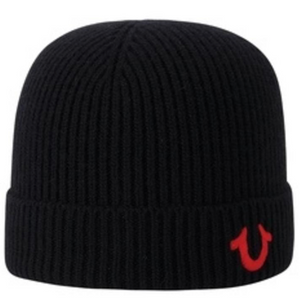 TRUE RELIGION TR1828 Ribbed Knit Watchcap BLKRED / OS Designers Closet