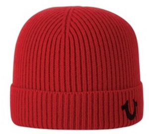 TRUE RELIGION TR1828 Ribbed Knit Watchcap RED / OS Designers Closet