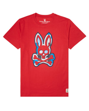 Psycho Bunny B6U517G1PC Mens Graphic Tee RED / S Designers Closet