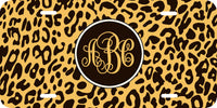 Custom Beautiful Monogrammed License Plate Leopard Print Monogram Car Tag