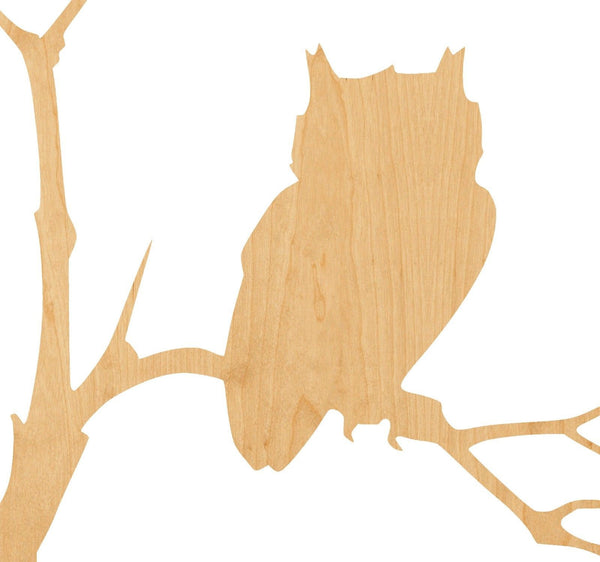 Owl in Tree Wooden Laser Cut Out Shape - Great for Crafting - Hobbyist - D.I.Y. Projects