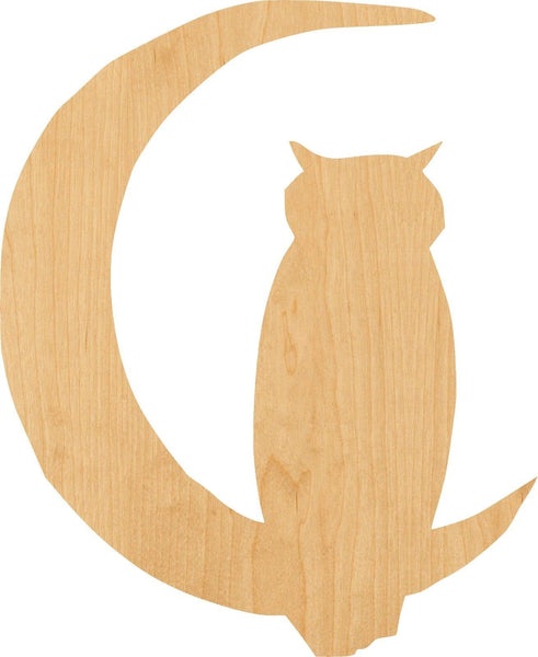 Owl in Moon Wooden Laser Cut Out Shape - Great for Crafting - Hobbyist - D.I.Y. Projects