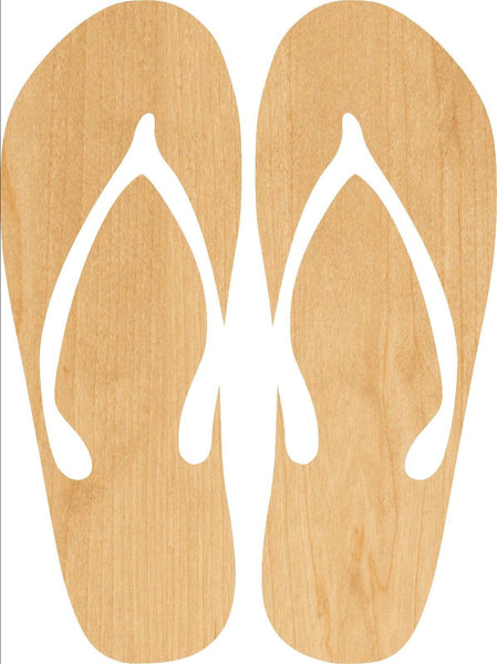 Flip Flop Wooden Laser Cut Out Shape - Great for Crafting - Hobbyist - D.I.Y. Projects