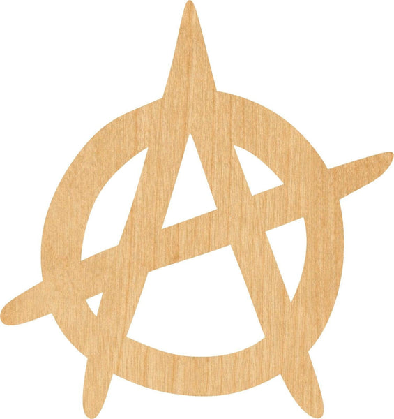Anarchy Symbol Wooden Laser Cut Out Shape - Great for Crafting - Hobbyist - D.I.Y. Projects