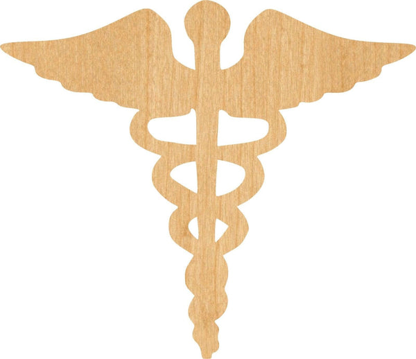 Caduceus 1 Wooden Laser Cut Out Shape - Great for Crafting - Hobbyist - D.I.Y. Projects