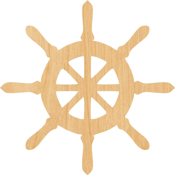 Ship Wheel Wooden Laser Cut Out Shape - Great for Crafting - Hobbyist - D.I.Y. Projects