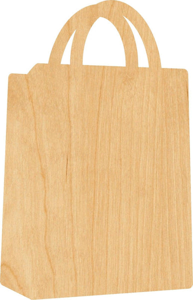 Shopping Bag Wooden Laser Cut Out Shape - Great for Crafting - Hobbyist - D.I.Y. Projects