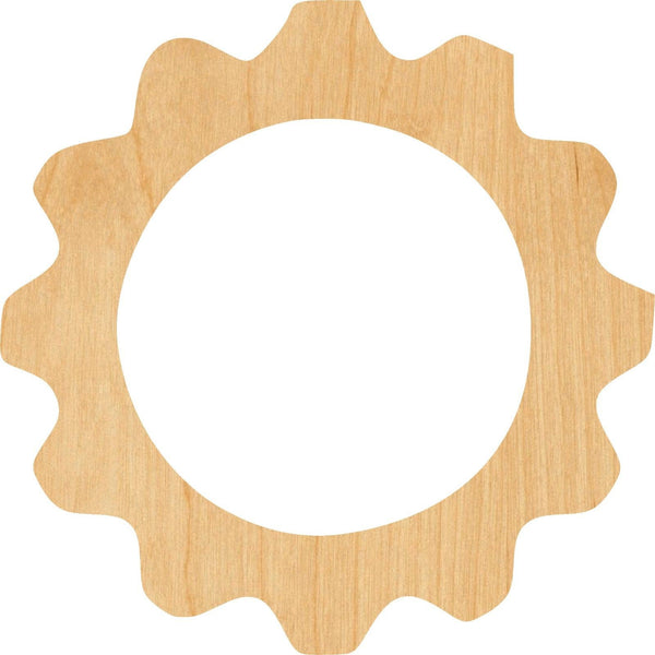 Gear 7 Wooden Laser Cut Out Shape - Great for Crafting - Hobbyist - D.I.Y. Projects