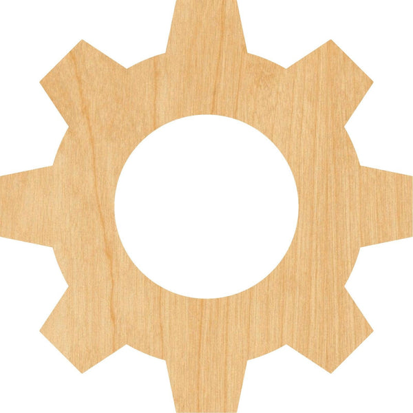 Gear 9 Wooden Laser Cut Out Shape - Great for Crafting - Hobbyist - D.I.Y. Projects