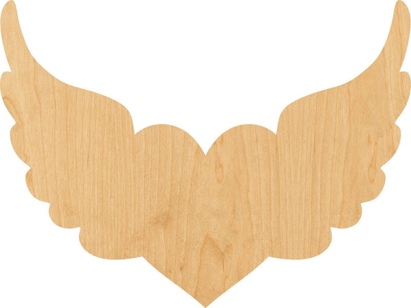 Heart With Wings Wooden Laser Cut Out Shape - Great for Crafting - Hobbyist - D.I.Y. Projects