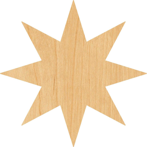 Eight Pointed Star Wooden Laser Cut Out Shape - Great for Crafting - Hobbyist - D.I.Y. Projects