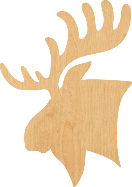 Moose Head Wooden Laser Cut Out Shape - Great for Crafting - Hobbyist - D.I.Y. Projects