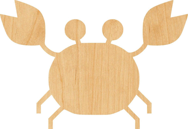 Cartoon Crab Wooden Laser Cut Out Shape - Great for Crafting - Hobbyist - D.I.Y. Projects