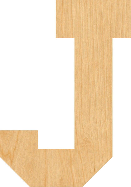 Letter J Wooden Laser Cut Out Shape - Great for Crafting - Hobbyist - D.I.Y. Projects