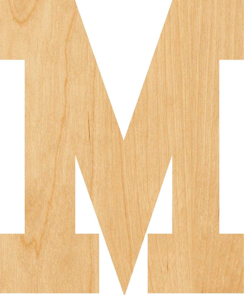 Letter M Wooden Laser Cut Out Shape - Great for Crafting - Hobbyist - D.I.Y. Projects