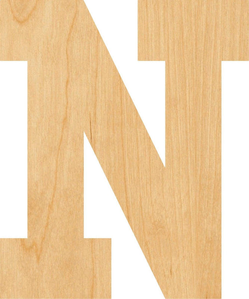 Letter N Wooden Laser Cut Out Shape - Great for Crafting - Hobbyist - D.I.Y. Projects