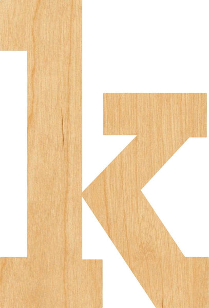 Lowercase Letter k Wooden Laser Cut Out Shape - Great for Crafting - Hobbyist - D.I.Y. Projects