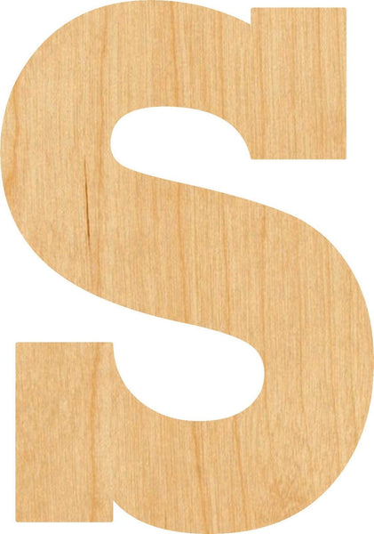 Lowercase Letter s Wooden Laser Cut Out Shape - Great for Crafting - Hobbyist - D.I.Y. Projects