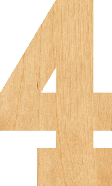 Number 4 Wooden Laser Cut Out Shape - Great for Crafting - Hobbyist - D.I.Y. Projects
