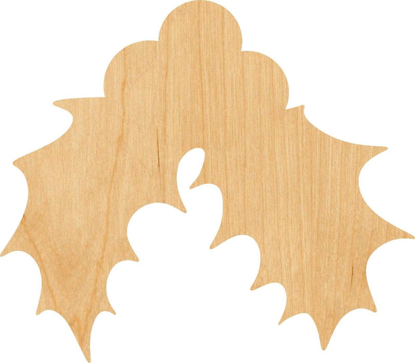 Holly Wooden Laser Cut Out Shape - Great for Crafting - Hobbyist - D.I.Y. Projects