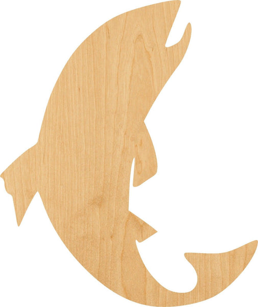 Salmon Fish Jumping Wooden Laser Cut Out Shape - Great for Crafting - Hobbyist - D.I.Y. Projects