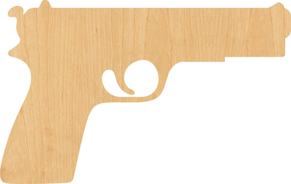 Pistol Wooden Laser Cut Out Shape - Great for Crafting - Hobbyist - D.I.Y. Projects