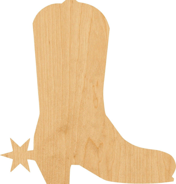 Cowboy Boot Wooden Laser Cut Out Shape - Great for Crafting - Hobbyist - D.I.Y. Projects