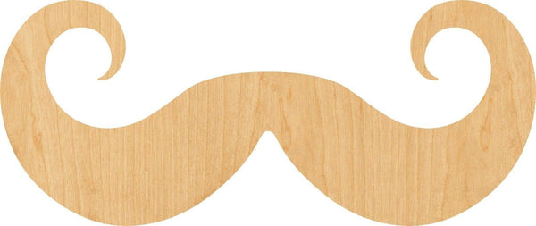 Handlebar Mustache Wooden Laser Cut Out Shape - Great for Crafting - Hobbyist - D.I.Y. Projects