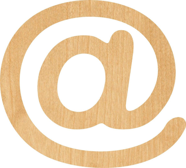 At Symbol Wooden Laser Cut Out Shape - Great for Crafting - Hobbyist - D.I.Y. Projects