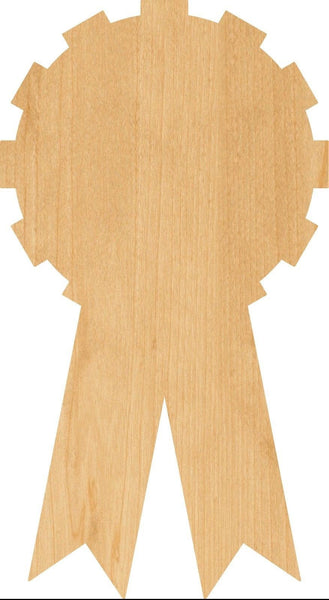 Award Ribbon Wooden Laser Cut Out Shape - Great for Crafting - Hobbyist - D.I.Y. Projects