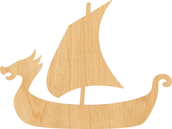 Viking Ship Wooden Laser Cut Out Shape - Great for Crafting - Hobbyist - D.I.Y. Projects