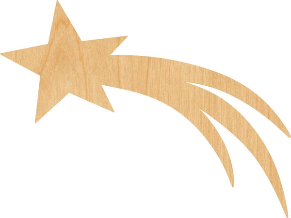 Shooting Star Wooden Laser Cut Out Shape - Great for Crafting - Hobbyist - D.I.Y. Projects