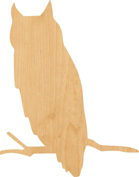 Owl on a Branch Wooden Laser Cut Out Shape - Great for Crafting - Hobbyist - D.I.Y. Projects