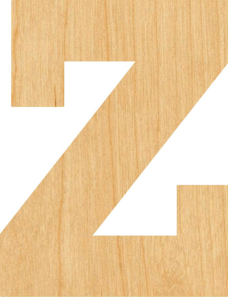 Lowercase Letter z Wooden Laser Cut Out Shape - Great for Crafting - Hobbyist - D.I.Y. Projects
