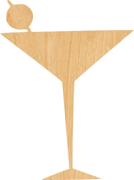 Martini Glass Wooden Laser Cut Out Shape - Great for Crafting - Hobbyist - D.I.Y. Projects
