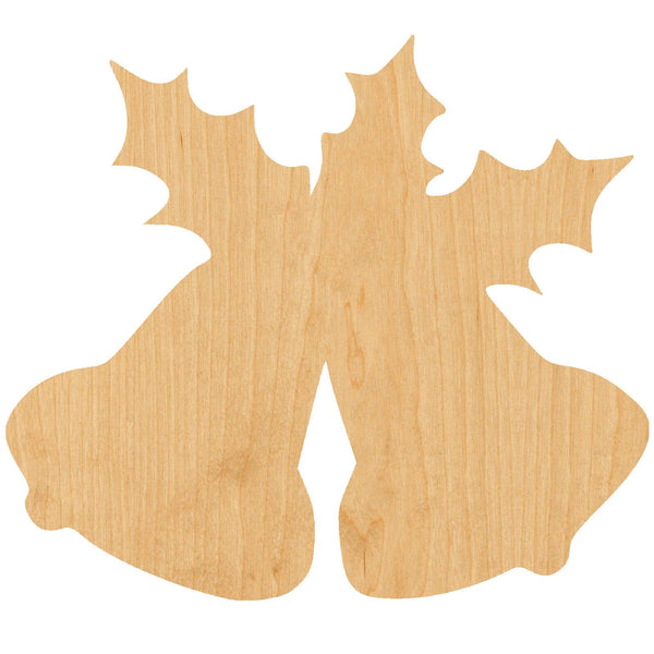 Bells and Holly Wooden Laser Cut Out Shape - Great for Crafting - Hobbyist - D.I.Y. Projects