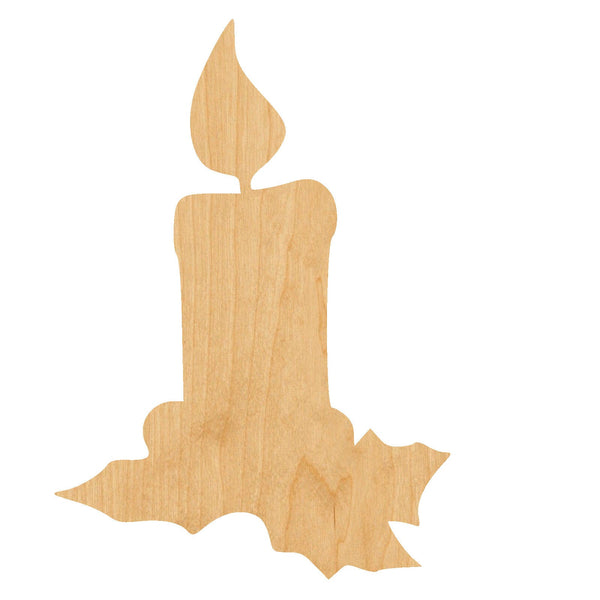Holly Candle Wooden Laser Cut Out Shape - Great for Crafting - Hobbyist - D.I.Y. Projects