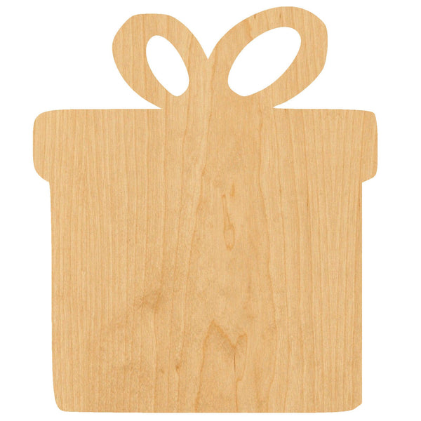 Present 2 Wooden Laser Cut Out Shape - Great for Crafting - Hobbyist - D.I.Y. Projects