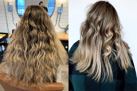 Curly hair before and after foilyage