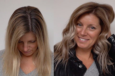 Stylist evaluating client hair