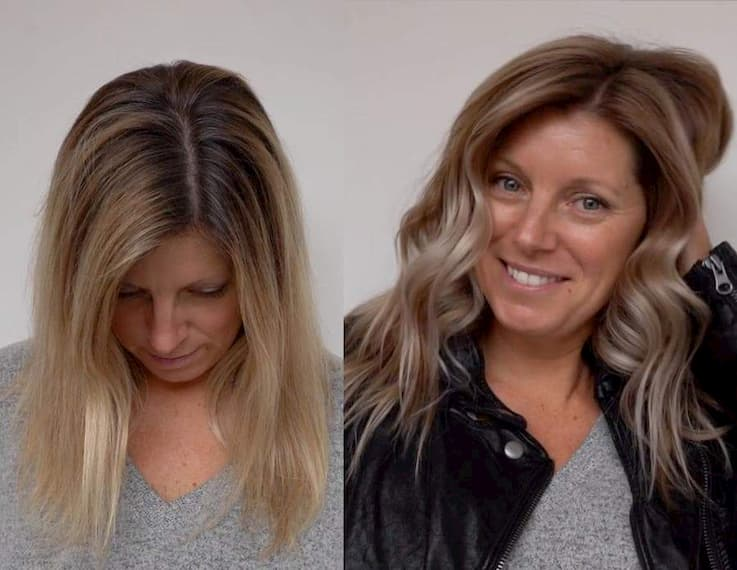 Grey Blending Balayage Before vs After