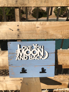 """Love you to the Moon & Back""  wood sign w/ picture clips - Old Soul AZ"