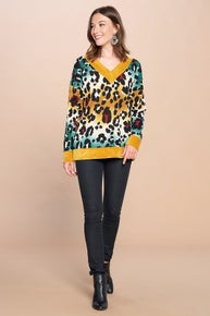 Oddi Multi-Colored Leopard Printed Knit Sweater