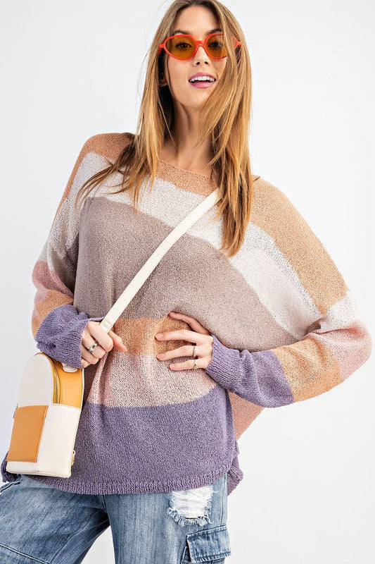 Easel COLOR BLOCKED LIGHTWEIGHT SWEATER KNIT TOP