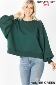 Zenana Balloon Sleeve Sweatshirt
